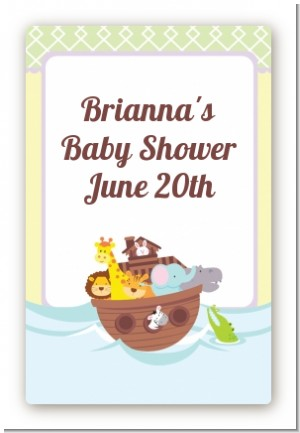 Noah's Ark - Custom Large Rectangle Baby Shower Sticker/Labels
