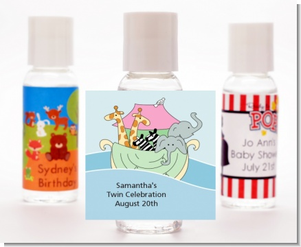 Noah's Ark Twins - Personalized Baby Shower Hand Sanitizers Favors
