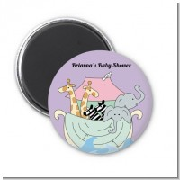 Noah's Ark Twins - Personalized Baby Shower Magnet Favors