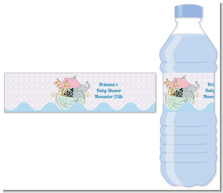 Noah's Ark Twins - Personalized Baby Shower Water Bottle Labels