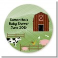 Nursery Rhyme - Old McDonald - Round Personalized Baby Shower Sticker Labels thumbnail