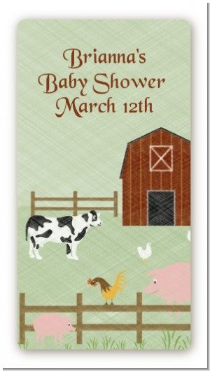 Nursery Rhyme - Old McDonald - Custom Rectangle Baby Shower Sticker/Labels