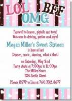 OMG LOL BFF Sweet 16 - Birthday Party Invitations