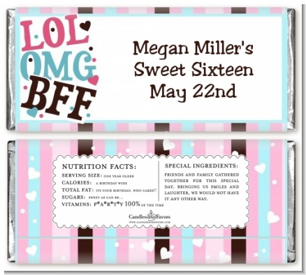OMG LOL BFF Sweet 16 - Personalized Birthday Party Candy Bar Wrappers
