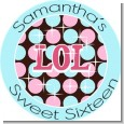OMG LOL BFF Sweet 16 - Round Personalized Birthday Party Sticker Labels thumbnail