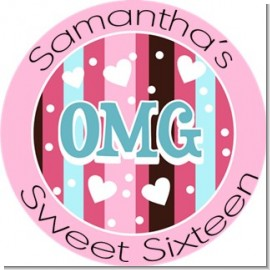 OMG - Round Personalized Birthday Party Sticker Labels