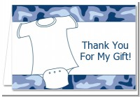 Baby Outfit Blue Camo - Baby Shower Thank You Cards