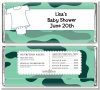 Baby Outfit Green Camo - Personalized Baby Shower Candy Bar Wrappers