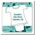 Baby Outfit Green Camo - Square Personalized Baby Shower Sticker Labels thumbnail