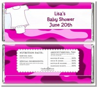 Baby Outfit Pink Camo - Personalized Baby Shower Candy Bar Wrappers