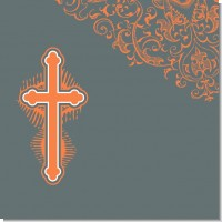 Cross Grey & Orange Baptism Theme