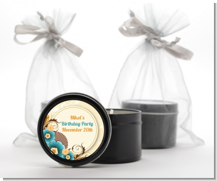 Orange & Blue Floral - Birthday Party Black Candle Tin Favors