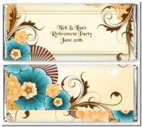 Orange & Blue Floral - Personalized Birthday Party Candy Bar Wrappers