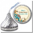Orange & Blue Floral - Hershey Kiss Birthday Party Sticker Labels thumbnail