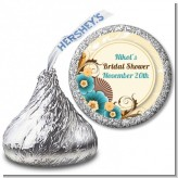 Orange & Blue Floral - Hershey Kiss Birthday Party Sticker Labels