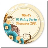 Orange & Blue Floral - Round Personalized Birthday Party Sticker Labels