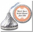 Orange Damask - Hershey Kiss Bridal Shower Sticker Labels thumbnail