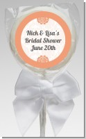 Orange Damask - Personalized Bridal Shower Lollipop Favors