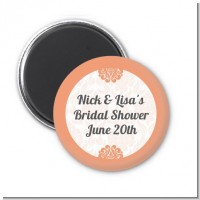 Orange Damask - Personalized Bridal Shower Magnet Favors