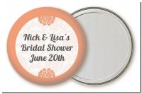 Orange Damask - Personalized Bridal Shower Pocket Mirror Favors