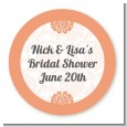 Orange Damask - Round Personalized Bridal Shower Sticker Labels thumbnail