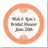 Orange Damask - Round Personalized Bridal Shower Sticker Labels