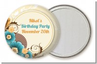 Orange & Blue Floral - Personalized Birthday Party Pocket Mirror Favors