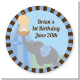 Our Little Boy Peanut's First - Round Personalized Birthday Party Sticker Labels