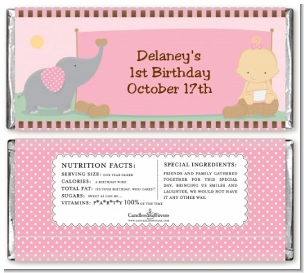 Our Little Girl Peanut's First - Personalized Birthday Party Candy Bar Wrappers