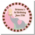 Our Little Girl Peanut's First - Round Personalized Birthday Party Sticker Labels thumbnail