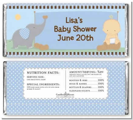 Our Little Peanut Boy - Personalized Baby Shower Candy Bar Wrappers