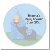 Our Little Peanut Boy - Round Personalized Baby Shower Sticker Labels