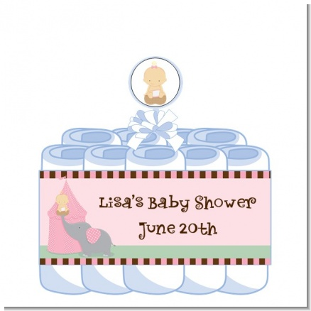 Our Little Peanut Girl - Personalized Baby Shower Diaper Cake 1 Tier