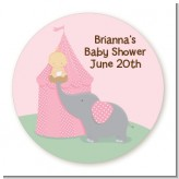 Our Little Peanut Girl - Round Personalized Baby Shower Sticker Labels