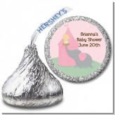 Our Little Peanut Girl - Hershey Kiss Baby Shower Sticker Labels