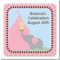 Our Little Peanut Girl - Square Personalized Baby Shower Sticker Labels