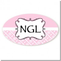 Modern Thatch Pink - Personalized Everyday Party Oval Sticker/Labels