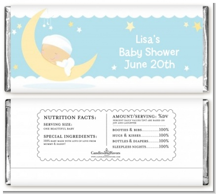 Over The Moon Boy - Personalized Baby Shower Candy Bar Wrappers
