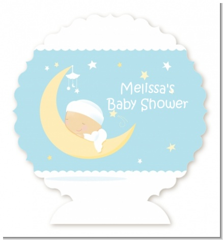 Over The Moon Boy - Personalized Baby Shower Centerpiece Stand