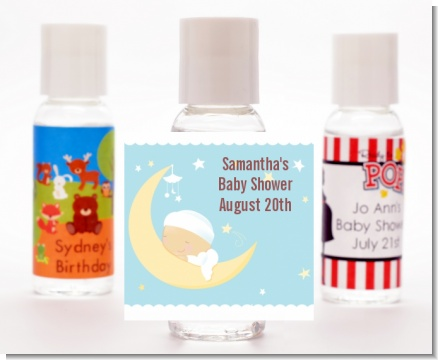 Over The Moon Boy - Personalized Baby Shower Hand Sanitizers Favors