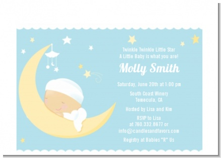 Over The Moon Boy - Baby Shower Petite Invitations