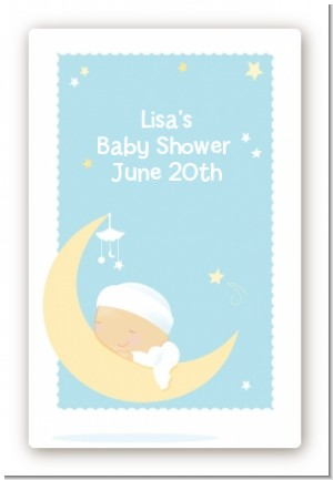 Over The Moon Boy - Custom Large Rectangle Baby Shower Sticker/Labels
