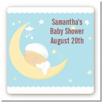 Over The Moon Boy - Square Personalized Baby Shower Sticker Labels
