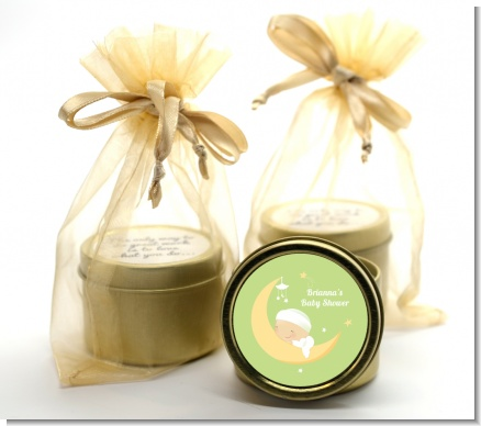 Over The Moon - Baby Shower Gold Tin Candle Favors
