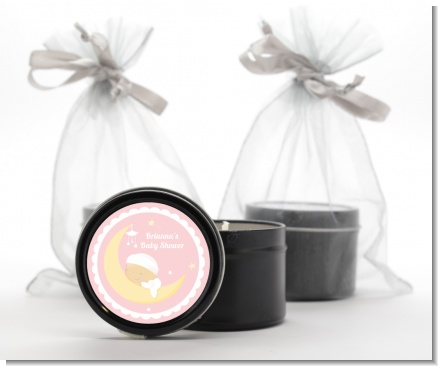 Over The Moon Girl - Baby Shower Black Candle Tin Favors