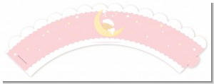 Over The Moon Girl - Baby Shower Cupcake Wrappers