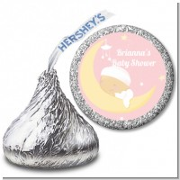 Over The Moon Girl - Hershey Kiss Baby Shower Sticker Labels