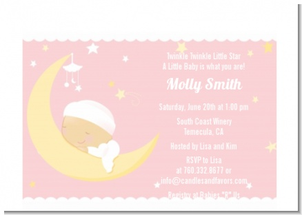 Over The Moon Girl - Baby Shower Petite Invitations