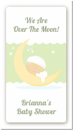 Over The Moon - Custom Rectangle Baby Shower Sticker/Labels