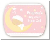 Over The Moon Girl - Personalized Baby Shower Rounded Corner Stickers